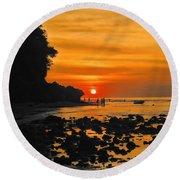 Bali Indonesian Sunset Round Beach Towel