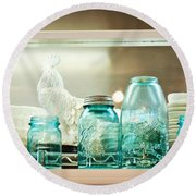 Ball Jars And White Rooster Round Beach Towel