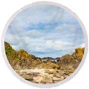 Ballintoy Bay Basalt Rock Round Beach Towel