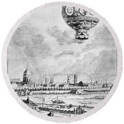 Balloon Flight, 1783 Round Beach Towel
