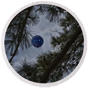 Balloon In The Pines Round Beach Towel