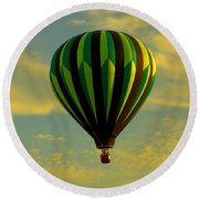 Balloon Ride Through Gold Clouds Round Beach Towel