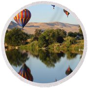 Balloons Over Horse Heaven Round Beach Towel