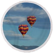 Balloons Over The Rockies Painterly Round Beach Towel