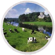 Ballyhooley, Co Cork, Ireland Friesian Round Beach Towel