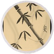 Bamboo Art In Sepia Round Beach Towel