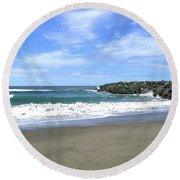 Bandon South Jetty Round Beach Towel