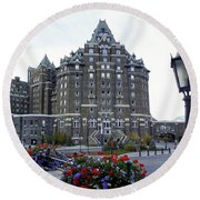 Banff Springs Hotel In The Canadian Rocky Mountains Round Beach Towel