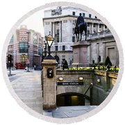 Bank Station Entrance In London Round Beach Towel