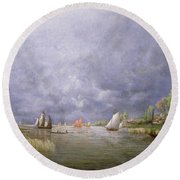 Banks Of The Loire In Spring Round Beach Towel