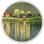 Banks Of The Seine At Argenteuil Round Beach Towel