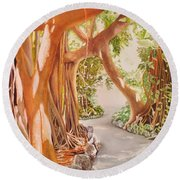 Banyan In The Afternoon Round Beach Towel