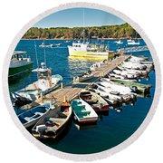 Bar Harbor Boat Dock Round Beach Towel