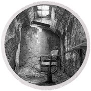 Barber - Chair - Eastern State Penitentiary - Black And White Round Beach Towel