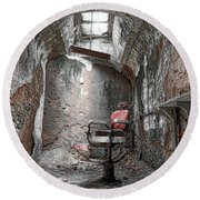 Barber - Chair - Eastern State Penitentiary Round Beach Towel