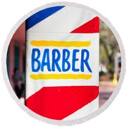 Barber Sign Round Beach Towel