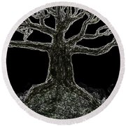 Bare Branches II Round Beach Towel