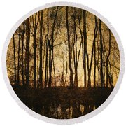 Fall Trees On A Lake Round Beach Towel