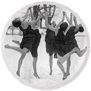 Barefoot Dance In The Snow Round Beach Towel