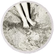Barefoot In The Sand Round Beach Towel