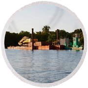 Barge In Naples Bay Round Beach Towel