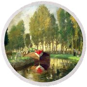 Barge On A River Normandy Round Beach Towel