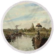 Barge On The Seine At Bougival Round Beach Towel by Camille Pissarro