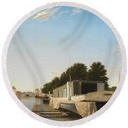 Barges At A Mooring Round Beach Towel