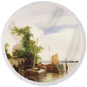 Barges On A River Round Beach Towel by Richard Parkes Bonington