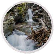Baring Creek Waterfall And Rapids Round Beach Towel
