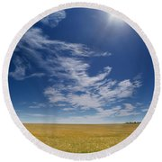 Barley Field Near Airdrie, Alberta Round Beach Towel