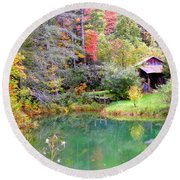 Barn And Pond In The Fall Round Beach Towel