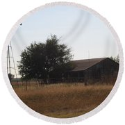 Barn And Windmill Round Beach Towel