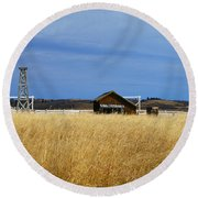 Barn And Windmill Stand Round Beach Towel