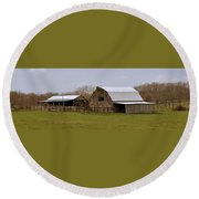 Barn In The Ozarks Round Beach Towel by Marty Koch
