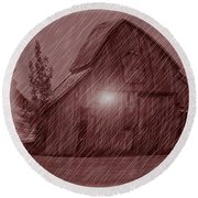 Barn Snow Globe Round Beach Towel