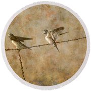 Barn Swallows On Barbed Wire Fence Round Beach Towel