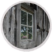Barn Window Reflection Round Beach Towel