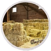 Barn With Hay Bales Round Beach Towel