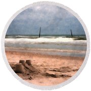 Barnacle Bill's And The Sandcastle Round Beach Towel