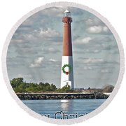 Barnegat Lighthouse - New Jersey - Christmas Card Round Beach Towel