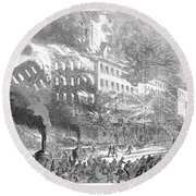 Barnums Museum Fire, 1865 Round Beach Towel