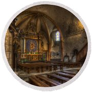 Baroque Church In Savoire France 2 Round Beach Towel