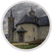 Baroque Church In Savoire France 6 Round Beach Towel