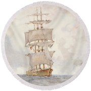 Barque And Tug Round Beach Towel