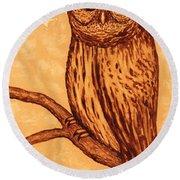 Barred Owl Coffee Painting Round Beach Towel