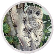 Barred Owl II Round Beach Towel