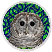 Barred Owl In A Fractal Tree Round Beach Towel