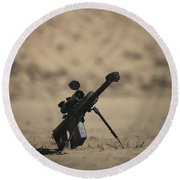 Barrett M82a1 Rifle Sits Ready Round Beach Towel