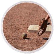baseball and Glove Round Beach Towel